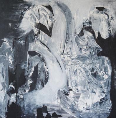 Grauzone, 2016, Acryl auf Leinwand, 130 x 130 cm