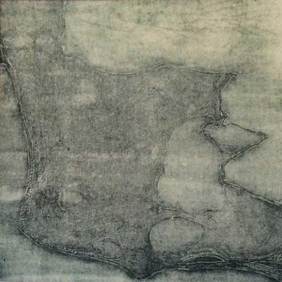 Kopf, 2011, Radierung durch Abdruck der Kozoarbeit im Wachsbett/Säurebad, Druck, 70 x 53 cm