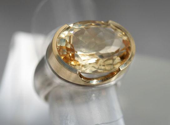 Citrinring sunlight, 2019, Silber, 750 Gold, Citrin