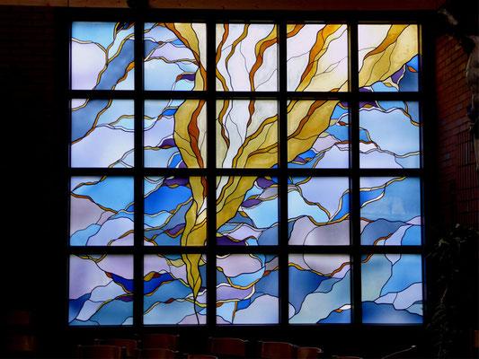 """Kirchenfenster Metzingen-Neuhausen """"Aufbruch"""", Bleiverglasung, ca. 4,50 m x 3,60 m"""