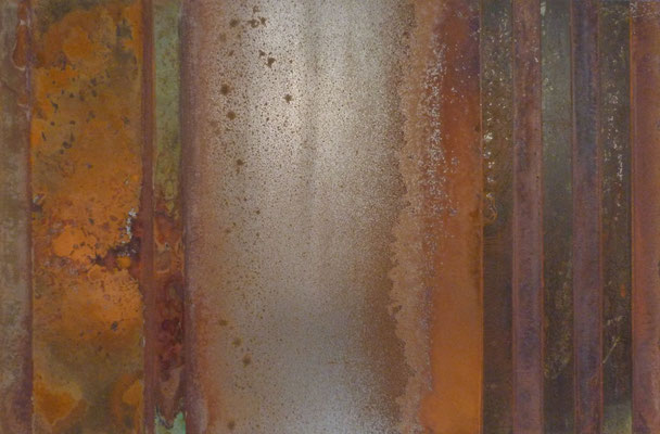 Stripes IV, Säurekorrosion auf Stahl, 40cm x 60cm, 2019