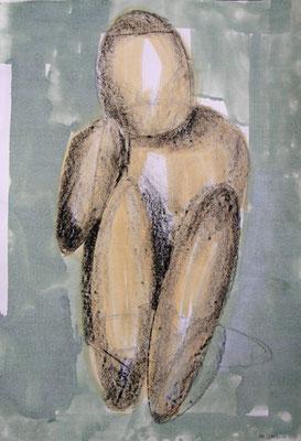Figur, 2012, 30cm x 42xm, Lithokreide und Beize