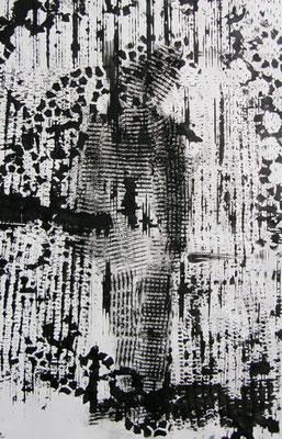 Stehende Figur, 2012, 30cm x 42cm, Tusche und Lithokreide
