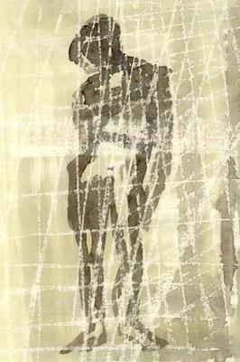 Stehende Figur, 2012, 30cm x 42cm, Ölpastell und Beize