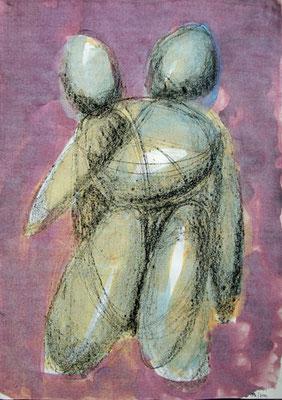 Zwei Figuren, 2012, 30cm x 42cm, Lithokreide und Beize