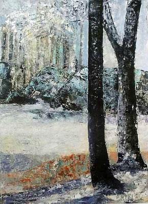 Winterlandschaft, Öl auf papier