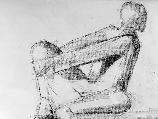 Sitzende Figur, 2012, 42cm x 30cm, Lithokreide