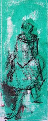 Tänzerin, 2009, 11cm x 17cm, Ölpastell und Tusche