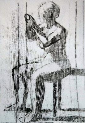 Sitzende Frau, 2012, 30cm x 42cm, Ölpause