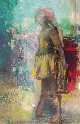 Tänzerin, 2010, 30cm x 42cm, Monotypie und Ölpastellkreide