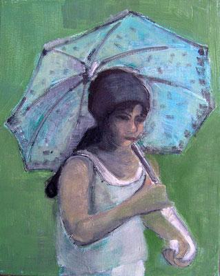 Mädchen mit Sonnenschirm, Öl auf Leinwand