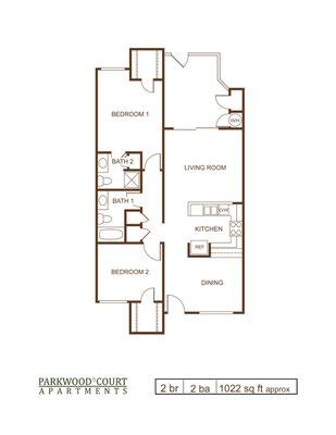 Floor Plan D - 2 bedroom and 2 bath