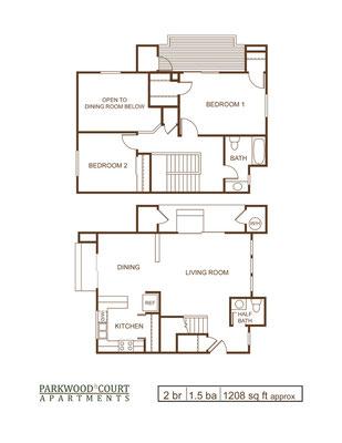 Floor Plan B - 2 bedroom and 1.5 bath townhouse unit
