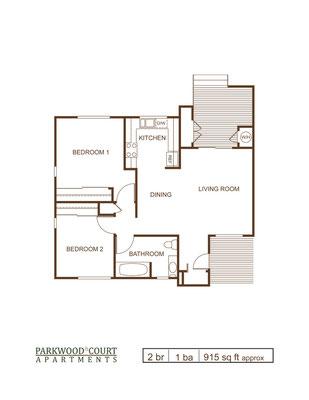 Floor Plan E - 2 bedroom and 1 bath