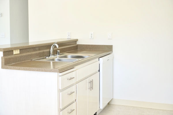 a closeup of the updated modern kitchen with white cabinetry, sink and dishwasher side