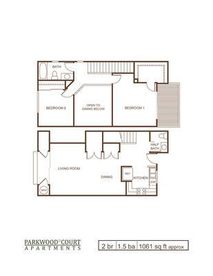 Floor Plan C - 2 bedroom and 1.5 bath townhouse unit