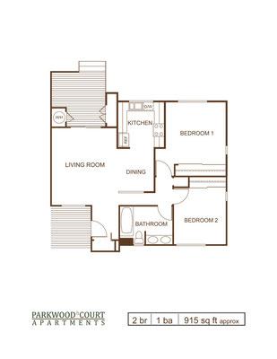 Floor Plan A - 2 bedroom and 1 bath flat