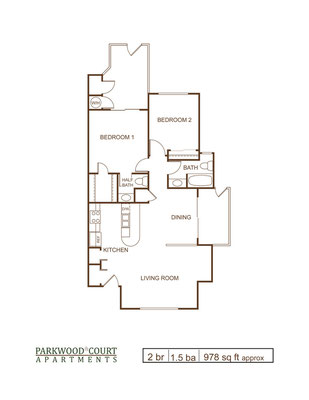 Floor Plan F - 2 bedroom and 1.5 flat