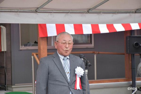 山田町飯岡老人クラブの佐々木鋼文会長のあいさつ