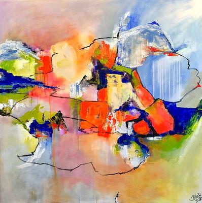 """Umwege"" 2018 - 100 x 100 cm (verkauft)"
