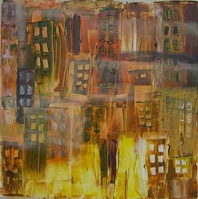 """Favela im Nebel"" 2008 - 50 x 50 cm (verkauft)"