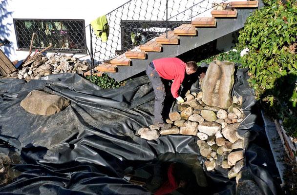 Die neue Teichfolie ist verlegt und wird nun mit Steinen belegt