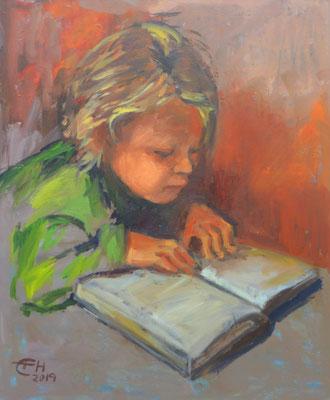 Young Reader, Öl_Lwd. 50x60cm
