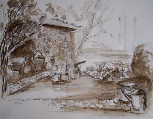 Herbstzeit,Grafit und Aquarell  Papier 48x36cm