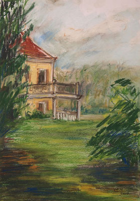 View Of The Castle   Pastellkreide 29,7x42cm