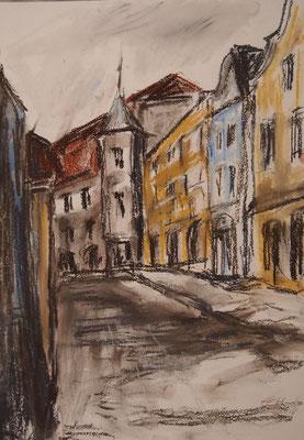 Barocke Häuser,Schärding,  Pastellkreide 29,7x42cm