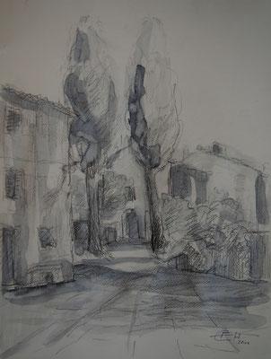 In der Toskana II,48x36cm,Grafit,Kohle