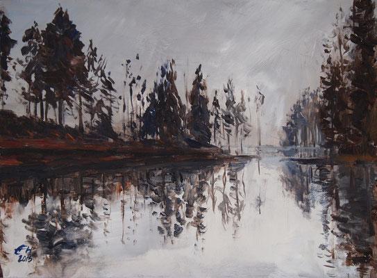 Herbstnebel II Öl_Holz,21x29cm