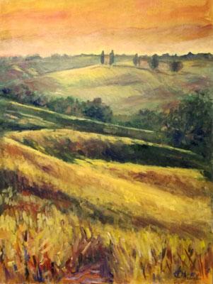 Tuscany Sunset, Öl_Lwd.60x80cm