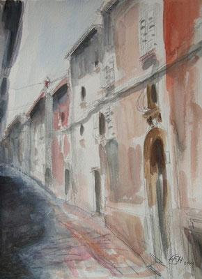 Gasse in Rovinj,Grafit und Aquarell