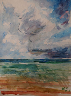 Clouds Over The Sea, Aquarell 30x40cm