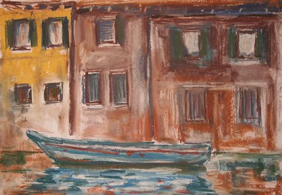 On The Way In Venice , Pastellkreide auf Papier 29,7 x 42 cm