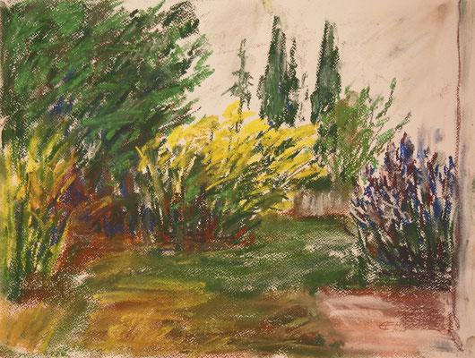 In The Garden, Pastellkreide 36x48cm