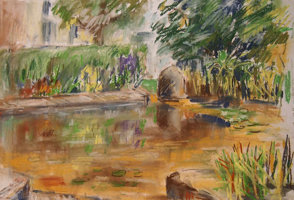 At The Garden Pond, Pastell 42x29,7cm