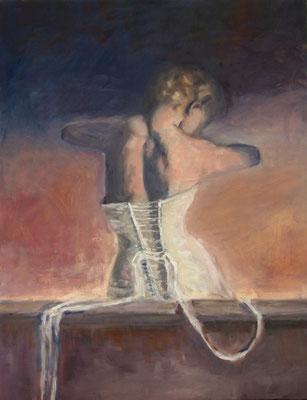Das Mieder,Öl-Lwd.80x60cm