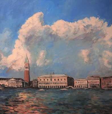 High Clouds Over The Serenissima, Öl_Lwd.80x80cm
