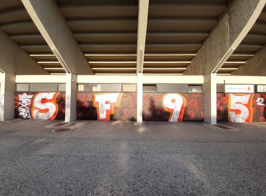 Graffiti von den Südstadt Fanatics und Gate2 rund ums Südstadt Stadion 1