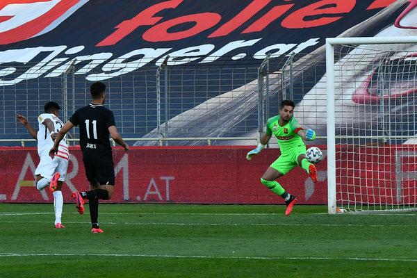 Andi Leitner hatte im Tor gegen Austria Wien einiges zu tun und konnte eine höhere Niederlage verhindern