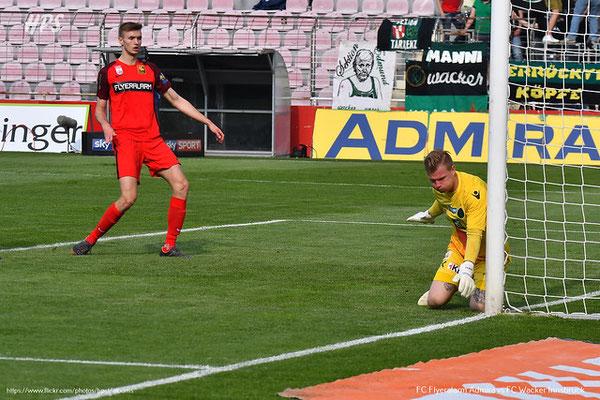 Bereits kurz nach Spielbeginn wurde Admira Wacker mit Sasa Kalajdzic gefährlich