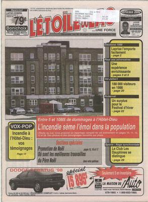 La une du 6 décembre 1998 du journal l'Étoile du Lac, Incendie à l'Hôtel-Dieu de Roberval le 2 décembre 1998