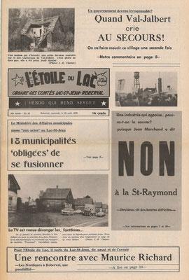 La une du 23 août 1972 du journal l'Étoile du Lac, fusion de 18 municipalités au Lac-St-Jean.