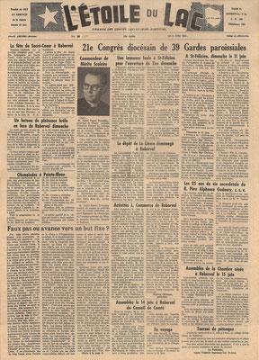La une du 8 juin 1961 du journal l'Étoile du Lac, inauguration officielle du Zoo de Saint-Félicien.