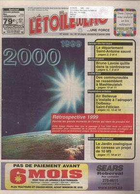 La une du 2 janvier 2000 du journal l'Étoile du Lac, Première édition du journal de l'an 2000 – Bogue de l'an 2000