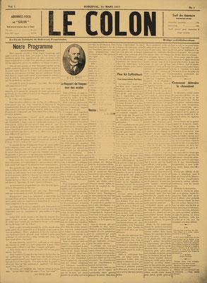 La une de la première édition du journal Le Colon (Étoile du Lac). 1er mars 1917.
