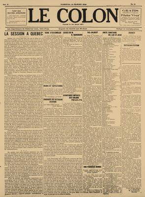 La une du 16 février 1928 du journal Le Colon (Étoile du Lac), fermeture du village de Val-Jalbert.