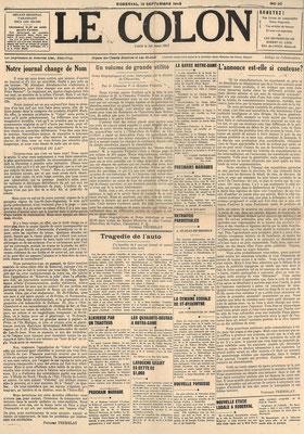 La une du 19 septembre 1946 du journal le Colon (Étoile du Lac), dernière édition avant le changement de nom.